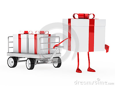 Gift box draws a trolley