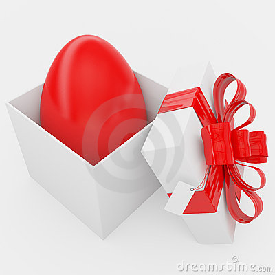 Gift box with Easter red egg