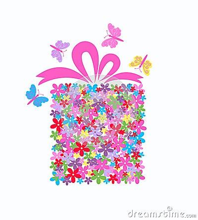 gift box full of flowers