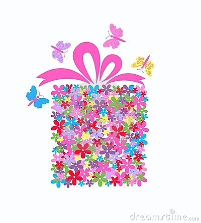 Free Gift Box Full Of Flowers Royalty Free Stock Images - 17669009