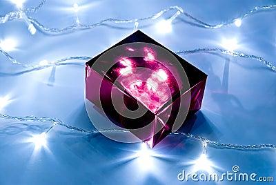 Gift box and garland lights
