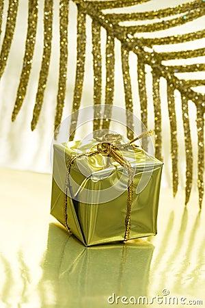 Gift box on golden