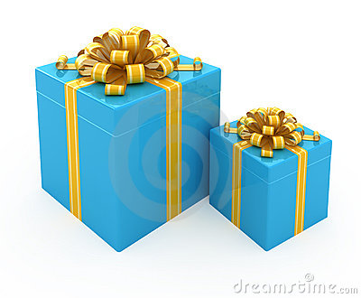 Gift box with golden ribbon