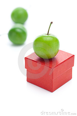 Gift box and green plum
