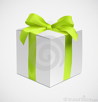 Gift box with green silk ribbon