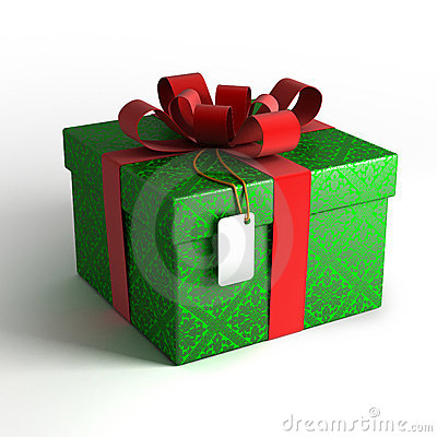Gift box in green wrapping