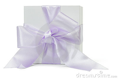 Gift box with large purple ribbon