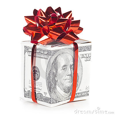 Gift box made of dollars