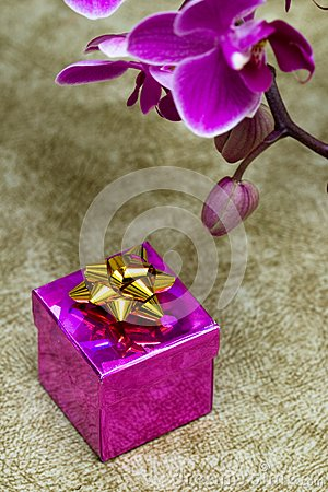 Gift box with orchid