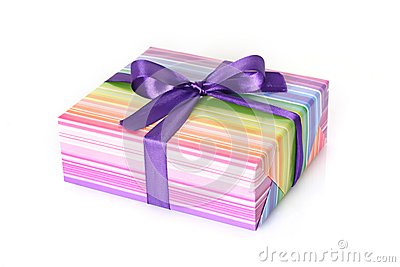 Gift box with purple ribbon