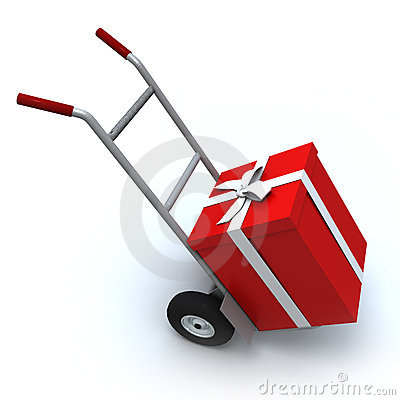 Gift box in push cart