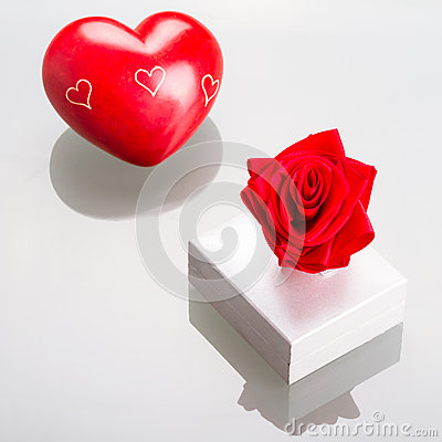 Gift box with red heart for Valentines