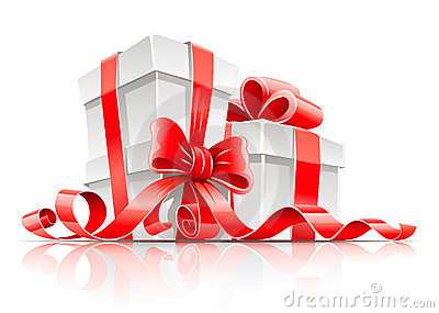 Gift in box with red ribbon and bow