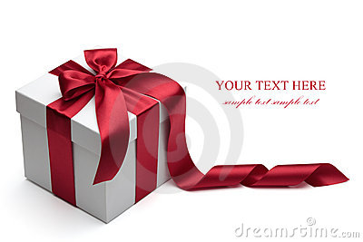 Gift box with red ribbon and bow.