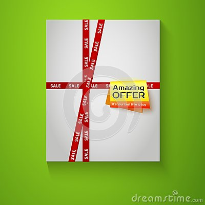 Gift box with red sale tape on green background.
