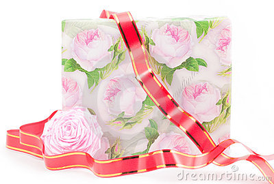 Gift Box With Roses Stock Photos