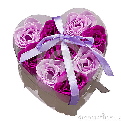 Gift box with roses as love symbol
