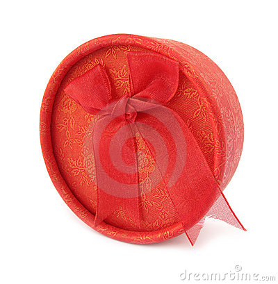 Gift box round red with cloth tie bow