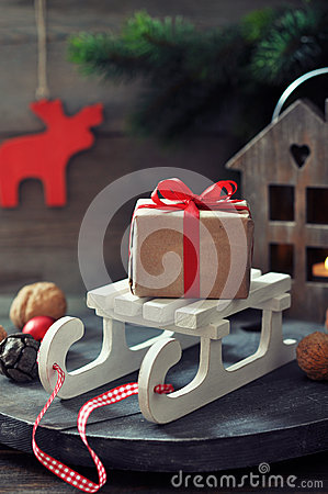 Gift box on sled