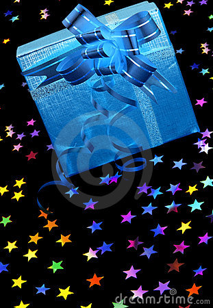 Gift box with stars on black