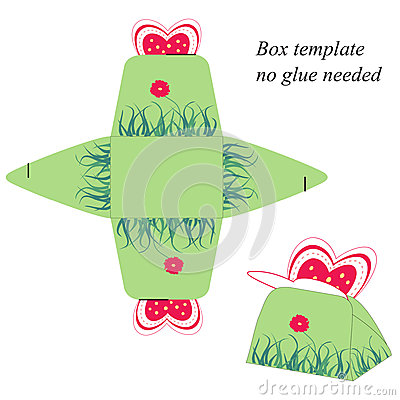 Gift Box Template With Butterfly, No Glue Needed Stock ...