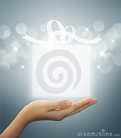 Free Gift Box Translucent In Hand Stock Photo - 22450860