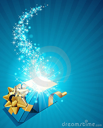 Free Gift Box With Sparkling Stars Stock Photography - 17464342