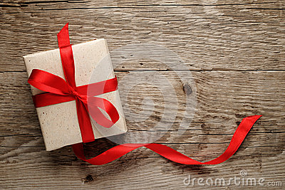 Gift box on wood