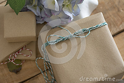 Gift box wrapped in recycled paper