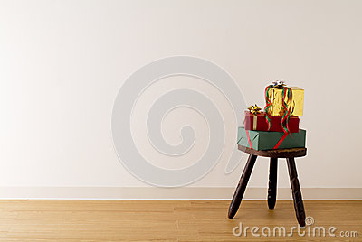 Gift boxes on antique stool