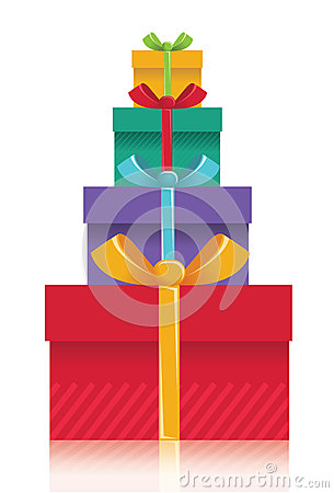 Gift boxes background.Vector color presents illust