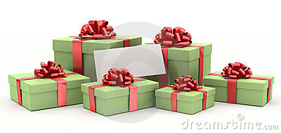 Gift boxes with a blank card.