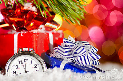 Gift boxes and clock