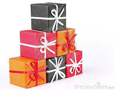 Gift boxes with coloured ribbons