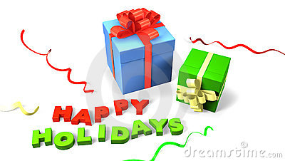 Gift boxes with happy holidays