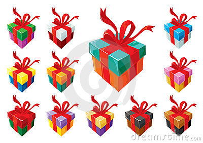 Gift boxes mix, with red ribbon