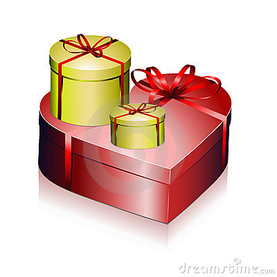 Gift boxes with ribbons