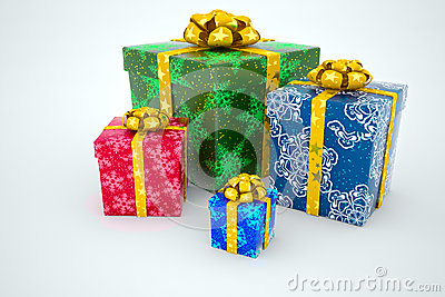Gift boxes with ribbons on a white background