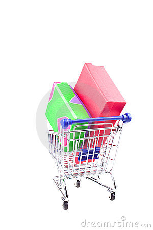 Gift boxes in shopping trolley