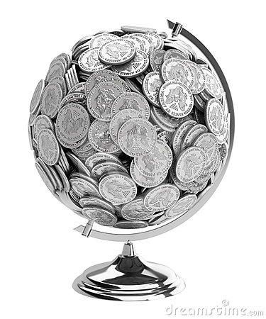 Gift for businessman Globe of coins isolated on wh