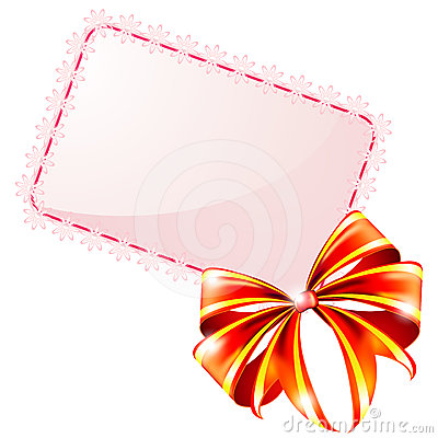 Free Gift Card And Red Bow Royalty Free Stock Image - 24319036