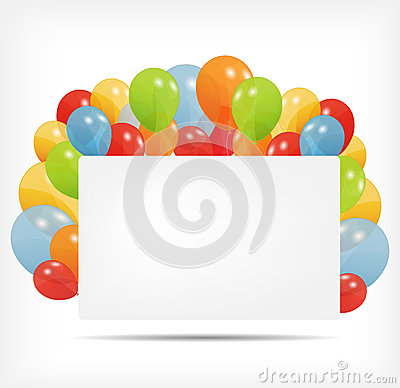 Gift card with balloons vector illustration