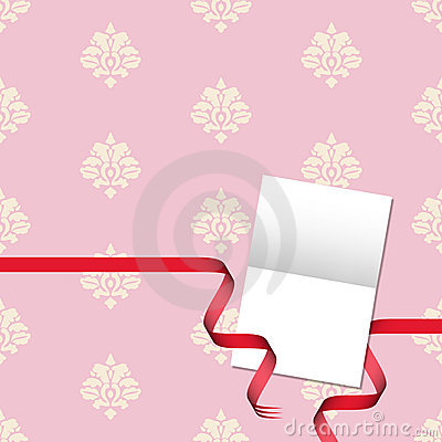 Gift card with damask pattern and red ribbon