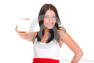 Gift card. Excited woman showing empty blank paper card sign