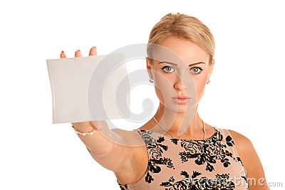 Gift card. Excited woman showing empty blank paper card sign wit