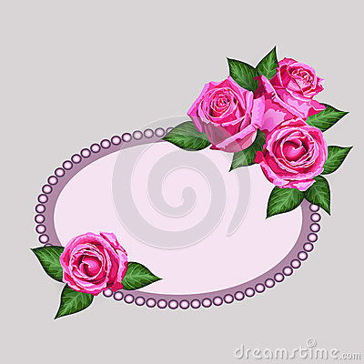 Gift card with realistic roses flowers and ornated