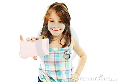Gift card sign little girl