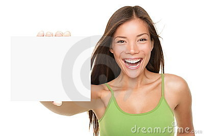 Gift card sign woman