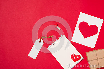 Gift card for Valentine`s Day with letter and heart on color bac Stock Photo