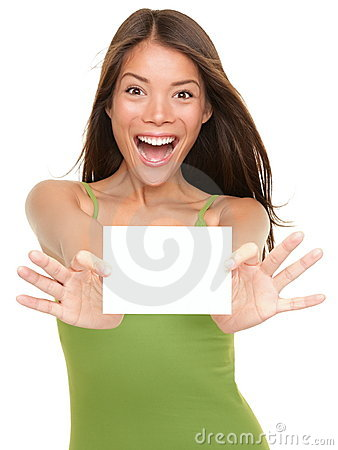 Free Gift Card Woman Excited Royalty Free Stock Photo - 18898105